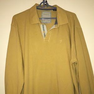 Men's Izod rugby shirt button collar mustard XL